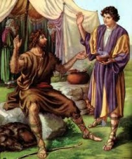 Jacob offering Esau a bowl of pottage for his birthright.