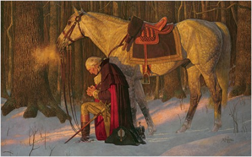 """The Prayer at Valley Forge""  - A 1992 painting by Arnold Friberg - American troops had been defeated time and time again by the British during the Revolutionary War, so George Washington knelt in prayer, asking for strength to go on fighting."