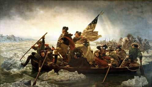 """Washington Crossing the Delaware"" painted in 1851 by Emanuel Leutze.  Beautiful painting, although historically inaccurate according to historians."