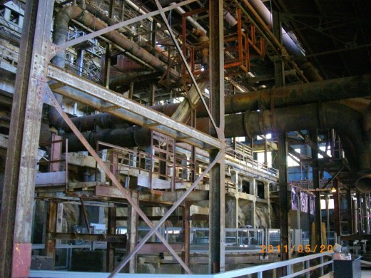 This is the inside of a massive ore processing plant located at the former Britannia Mines that used to be the largest copper mining facility in the British Empire. The sole purpose of this gigantic space was to crush rock prior to extracting copper.