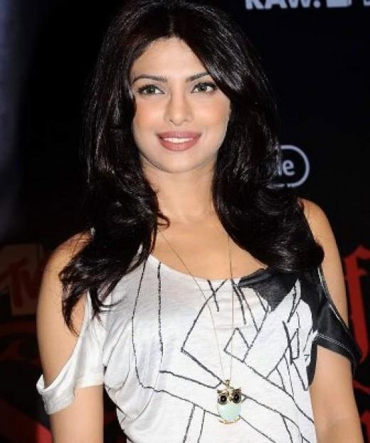 Priyanka Chopra in a funky white top.