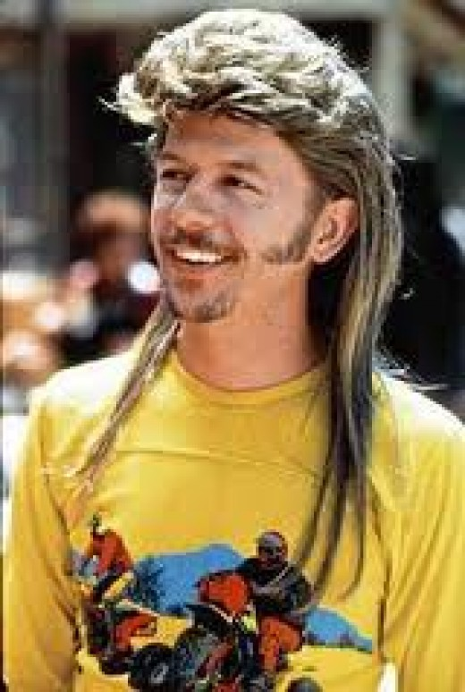 Joe Dirt sports a mullet and would probably get thrown in jail in Iran.