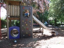 Part of the enclosed play area at Heigham Park - great in summer as the trees provide shade.