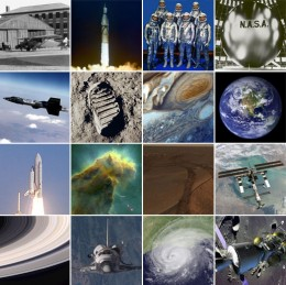 Poster celebrating the 47th Anniversary of NASA (2005). From NASA's predecessor 1931 original hangar to the iconic picture of the Earth; space explorations; Hubble images; Saturn rings, and satellite images are amongst NASA's many accomplishments.