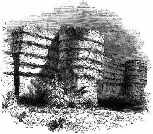 19th century engraving of the walls of Burgh Castle on the Norfolk/Suffolk border, from: Charles Knight, 'Old England: A Pictorial Museum (1845)