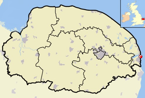 Map location of Great Yarmouth