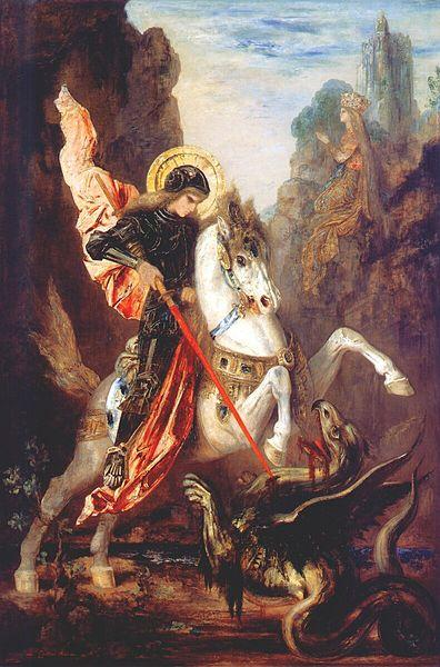 Saint George Slaying a dragon - Painting by French artist Gustave Moreau (18261898)