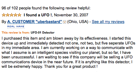 He detected five UFOs with this great product!