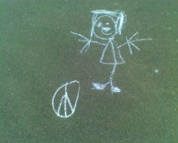 Chalk art on our walking path