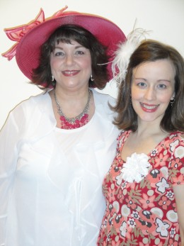 "My mother and I ready for the tea party.  When I wear a dress, my 2-year-old daughter says, ""Beauful dwess."""