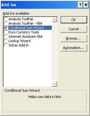 Loading the Conditional Sum Wizard Add-in