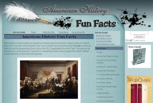 Screenshot of American-History-Fun-Facts.com
