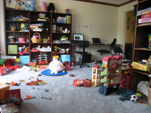 The cluttered toy room, its just asking to be rescued.