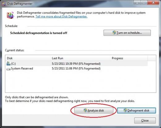 defragmenting hdd - analyze disk