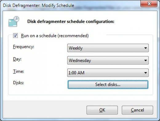 schedule disk defragmentation