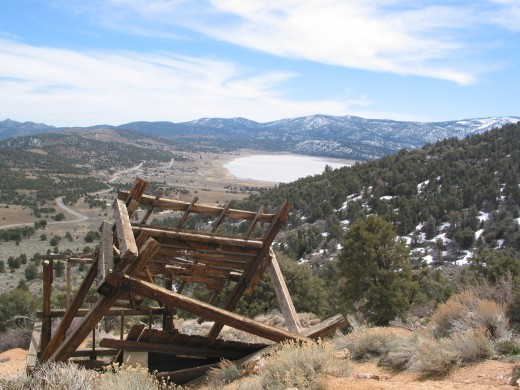 "A Ghost from the Gold Rush days, this structure was part of the ""lucky Baldwin"" Mine; Big Bear area, California (Doble)"