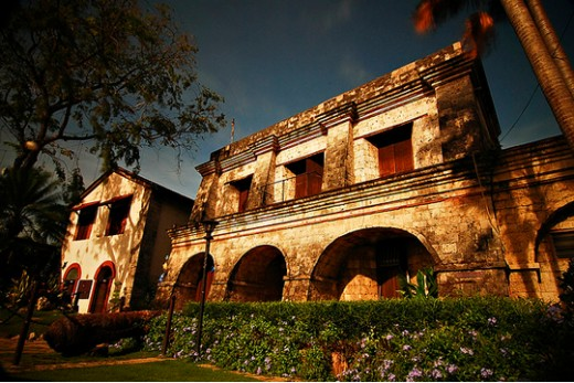 Fort San Pedro's facade, a golden glow in the afternoon sun