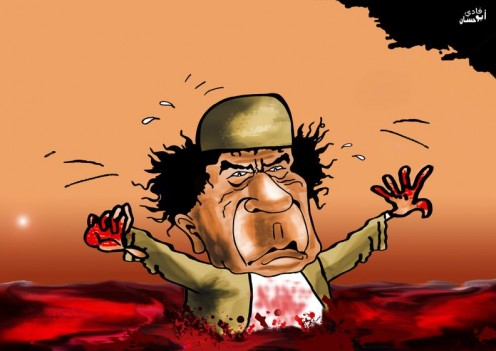 Gaddafi drowning in the blood of civilians in Libya.