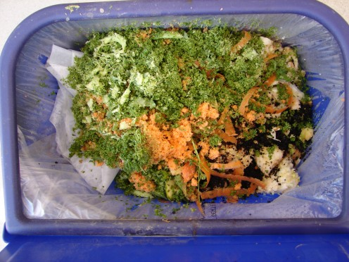 For kitchen waste, I use an Ikea pull-out bin, where I can sort it from my regular garbage. It takes two or three days to fill.