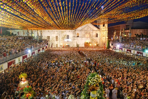 thousands of people in front of the Basilica during the Sinulog festival