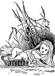 Baby Moses in a boat-basket on the Nile River