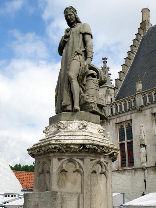 Statue of Jacob van Maerlant, Damme, West Flanders province