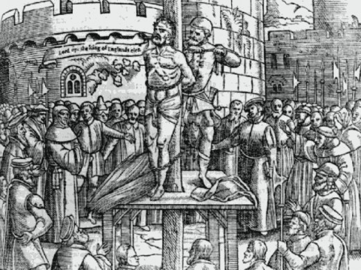 Tyndale just before being strangled and burnt. Illustration in original Foxe's Book of Martyrs.