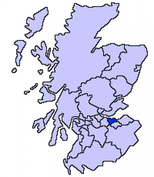 Map location of Edinburgh, Scotland