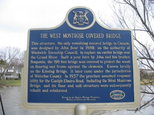 Historical plaque for West Montrose Covered Bridge