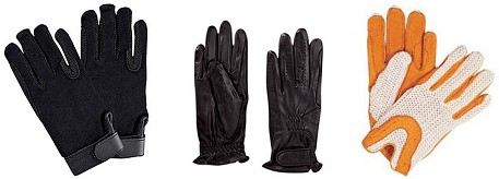 Pictured Left to Right: SSG Gripper Gloves, Unknown Traditional Style Show Gloves, Unknown Open-back Crochet Gloves