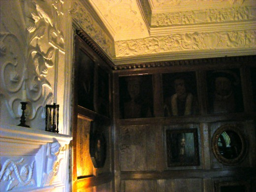 Panelling with royal portraits