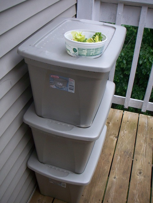 Stacked Worm Bins
