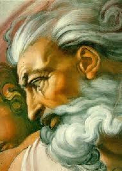 The face of God; This is how Michelangelo imagined God, perhaps for humanity it is better if God has a face, because it feels more human, It also helps to have a name and God's name is Yahweh, as Moses has said.