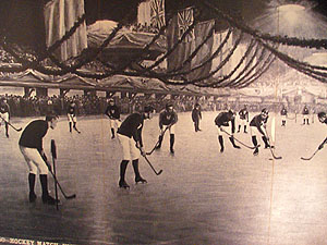 This historic photo shows a game of hockey ball as it was then called. Thus is one of the sources of modern hockey.