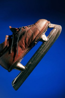 This early ice skate is a marriage of the shoemakers and blade makers skills and became essential for ice hockey that was originally tried without skates. Skates make all the difference in agility, control and speed.