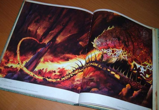One of my dragon illustrations as a double page spread