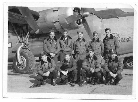 This is my dad with his comrades from the 489th Bomber Group of the Army Air Corps.  My dad is on the bottom row, far left.
