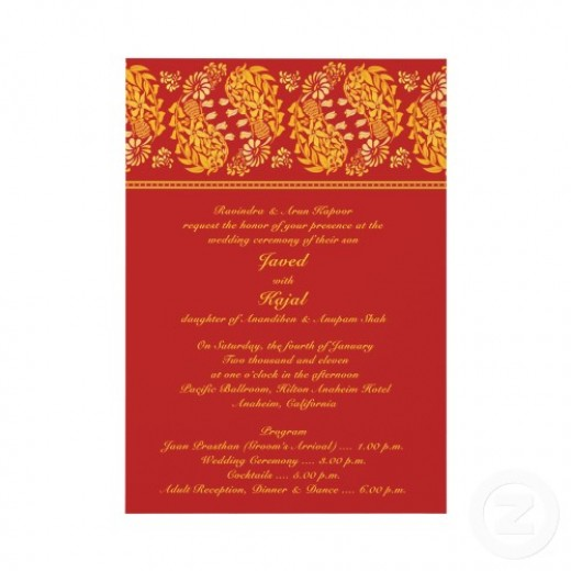 Red and Gold Indian Themed Wedding Invitations