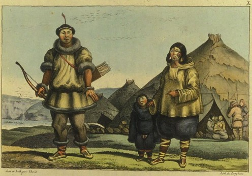Chukchi family and their home near the Bering Strait in the summer of 1816.