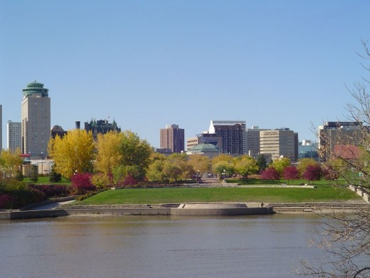 Winnipeg skyline from the river
