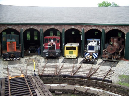Collection of old train equipment at the Connecticut Eastern Railroad Museum