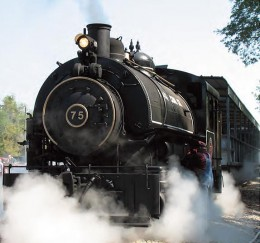 Steam returns to the Naugatuck Railroad.  Flagg Coal Co. #75 is a 40 ton coal-fired steam locomotive built in 1930.
