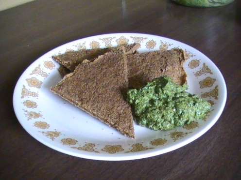 Great Buckwheat Crackers with My Best Pesto