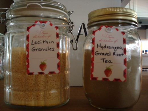Lecithin Granules and Hydrangea Gravel Root Tea Powder
