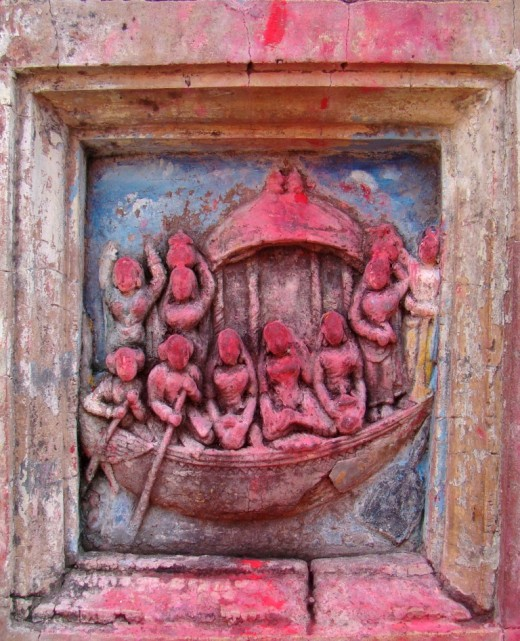 Another  of the terracotta figures on the facade of the main temple (Nouka Jatra or Boat ride of Lord Krishna)