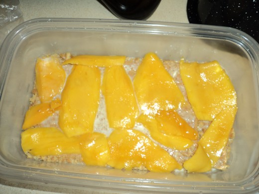 Layer of Sliced Mango Fruit