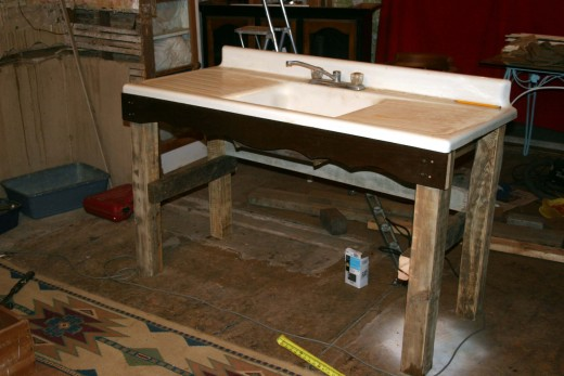 Al built the cabinet...formative stages here; we're trying sink in the cabinet in for a proper fit