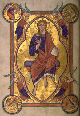 Christ in Majesty - Folio 4 verso of the Aberdeen Bestiary.