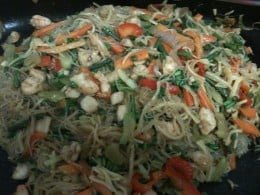Pancit Vegetables and Seafood