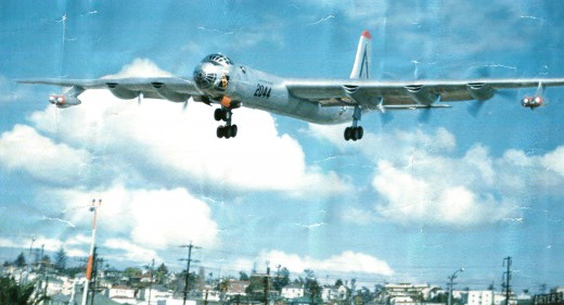 B-36D flying into San Diego, 1952